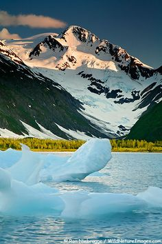 ✯ An iceberg floats in Portage Lake with Byron Glacier in background - Chugach National Forest,  Alaska