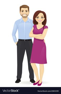 Couple of young people Royalty Free Vector Image Free Vector Images, Vector Free, Family Clipart, Cute Couple Drawings, Baby Orangutan, Couples Comics, Emoji Pictures, Female Superhero, Family Images