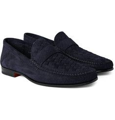 Santoni - Woven Suede Penny Loafers