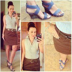Ann Taylor Sleeveless button down, brown DKNY skirt, Michael Kors belt, Kohls Dana Buchman slate blue wedge sandals