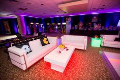 80s themed bar 80s rentals light up bar shag carpet prop