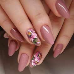 Looking for something more than a simple one color manicure but don't want to go. - - Looking for something more than a simple one color manicure but don't want to go too crazy? Floral nails for you! Floral Nail Art, Pink Nail Art, Pink Nails, Gel Nails, Stiletto Nails, Stylish Nails, Trendy Nails, Cute Nails, Nail Polish Designs