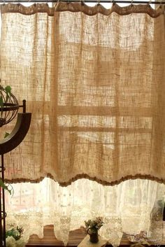 "72"" Shabby Rustic Chic Burlap Shower Curtain Lace Ruffles Flower French Country 