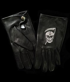 Reaper Embroidered Gloves, now available in faux leather.www.deathtraitors.com