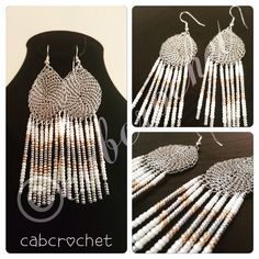 Wire crocheted beaded fringed earrings www.facebook.com/cabcrochet