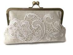 Set of Five Linen and lace bridal clutch bridesmaid by cutiegirlie