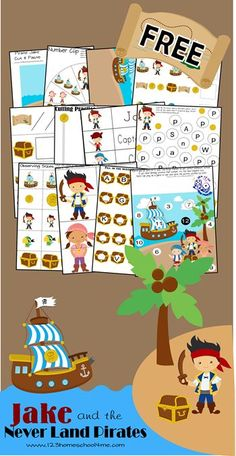 FREE Jake and the Neverland Pirates Worksheets for Kids - These are so cute! What a fun way for kids to practice alphabet letters numbers counting adding and so much more with a fun disney inspired theme for preschool kindergarten and grade kids. Preschool Pirate Theme, Pirate Activities, Preschool Kindergarten, Preschool Learning, Fun Learning, Preschool Activities, Toddler Preschool, Teaching, Kindergarten Worksheets