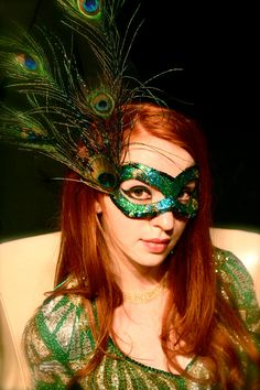 Strut - Masquerade Peacock Mask in Papier-Mâché (Paper Mache), Glitter, and Peacock Feathers via Etsy