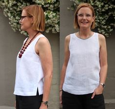 Kate Top - Tessuti Fabrics - This cropped, boxy sleeveless top comes with two neckline variations, a wide hemline with side split feature and exposed neckline and armhole binding. Dress Patterns, Sewing Patterns, Shell Tops, Fabric Online, Top Pattern, Sewing Clothes, Dressmaking, Shirts, Side Split