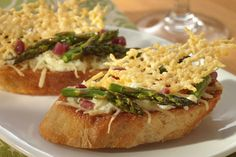 Asparagus Crostini with Parmesan Crisps -   Asparagus is in Season.  Try this delicious appetizer at your next gathering. Yum! #Asparagus