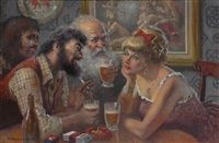 Group at the bar by Geoffrey Mainwaring