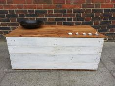 Handmade Rustic Storage Chest / Trunk / Hope Box with rope handles. Whitewashed with waxed lid