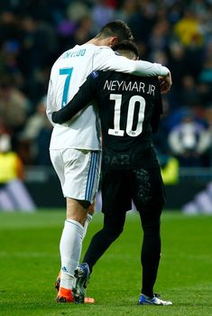 Cristiano Ronaldo Photos Cristiano Ronaldo of Real Madrid and Neymar of PSG embrace at half time during the UEFA Champions League Round of 16 First Leg match between Real Madrid and Paris Saint Germain at Bernabeu on February 2018 in Madrid, Spain. Neymar Jr, Football Neymar, Ronaldo Real Madrid, Cristiano Ronaldo Junior, Ronaldo Juventus, Barcelona E Real Madrid, Barcelona Soccer, Mbappe Psg, Ronaldo Photos