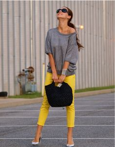 "Perfect Causual look! ""Good color combo of yellow jeans and grey slouchy sweater"" Yellow Jeans, Grey Yellow, Bright Yellow, Grey Jeans, Yellow Style, Bright Colors, Black Pants, Grey Style, Yellow Belt"