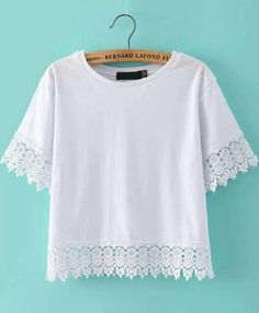 Shop White Lace Short Sleeve Crop T-Shirt online. SheIn offers White Lace Short Sleeve Crop T-Shirt & more to fit your fashionable needs. White Lace Shorts, Lace Tee, Crop Blouse, Crop Shirt, Top Chic, T Shirt Vest, T Shirts For Women, Clothes For Women, White Tees