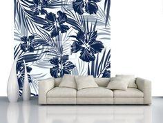 Tropical bezešvé monochromatické modrá indigo maskování pozadí fototapeta • fototapety aloha, indigo, ibišek   myloview.cz