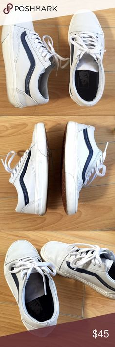 Matte white leather Old Skool Vans! These bad boys are gently worn only a handful of times! See wear in the photos. Slight wrinkle on the toe area because of the leather material. Sold out style from Vans stores! Dark navy stripes with a white base. Size 6 womens or 4.5 mens Vans Shoes Sneakers