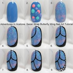 Saran wrap and butterfly wing manicure tutorial by Adventures in Acetone.