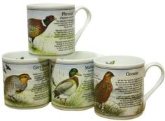 Bisley Gamebirds Mug Set The finest bone china mugs manufactured in Staffordshire the home of the Pottery Industry Our range of china mugs make ideal China Mugs, Mugs Set, Gifts For Family, Bone China, Pottery, Range, Canning, Tableware, How To Make