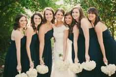 navy bridesmaid dresses, navy and white wedding color palette, wedding party posing, bridesmaid posing ideas