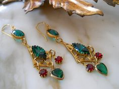 Earrings / Rhinestones and pearl hearts / by BohemianGirlVintage, $38.00
