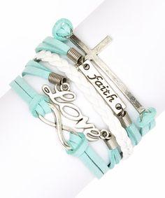 Mint Cross & 'Faith' Bracelet | zulily