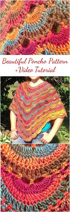 Poncho pattern -Tutorial + Video about how to crochet Poncho pattern