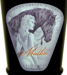 Sexy horse wine label Leona Valley Winery  Design by WestcottDesign.com
