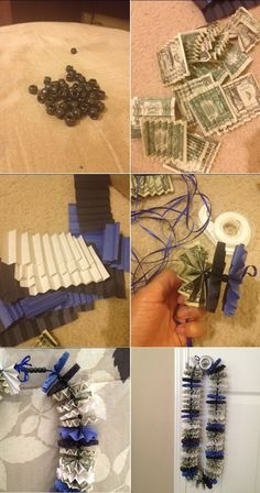 DIY Graduation Money Lei. I have been looking for a bead necklace long enough to do this with, this is a much cuter idea! :^}
