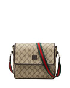 Gucci Girls' GG Supreme Messenger Bag, Beige/Brown