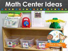 Math center ideas and activities for preschool, pre-k, or kindergarten.