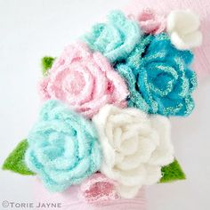 Glittered needle felted roses for my Christmas wreath by Torie Jayne