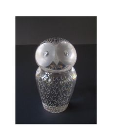 Cute Vintage Kosta Glass Owl Paperweight/ by DragonflyGypsySoul