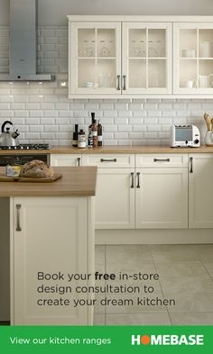 Book your free in-store design appointment for a Homebase kitchen to create your dream kitchen. Kitchen Wall Panels, One Wall Kitchen, Kitchen Room Design, Kitchen Layout, Kitchen Interior, New Kitchen, Kitchen Decor, Kitchen Splashback Tiles, Kitchen Worktop