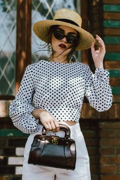 Polka dot balloon sleeve top, zara white high waisted shorts, beara beara vintage inspired bag, straw boater hat, statement earrings, vintage bag, white leather statement pumps, andreea birsan, couturezilla, cute summer outfit ideas 2017, puffy sleeves po