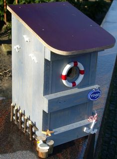 Nesting box / bird house - maritime - decorations * Doorplates * Gifts Source by gavlede Seaside Garden, Bird Houses Painted, Bird Boxes, Nesting Boxes, Diy Wedding Decorations, Door Signs, Bird Feeders, Diy For Kids, Garden Design