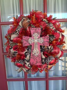 Animal Print with Red Cross Door Wreath by CrazyboutDeco on Etsy, $109.00