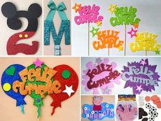decoracion en goma eva para cumpleaños                                                                                                                                                                                 Más Weird Gifts, Ideas Para Fiestas, Photo Booth, Cake Toppers, Anniversary Gifts, Kids Rugs, Birthday, Party, Home Decor