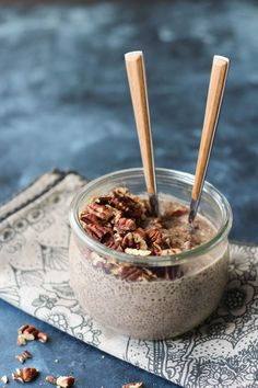 PaleOMG Toasted Maple Pecan Overnight Chia Pudding  [1 cup pecans,  1 cup almond milk (or MALK maple pecan milk),   1 scoop maple protein powder (mercola.com),   2 tablespoons maple syrup (or coconut nectar/sugar/stevia),    1 heaping tablespoon almond butter,    1 teaspoon vanilla extract,   ¼ cup chia seeds]