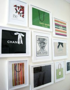 wall of framed shopping bags for a giant walk in closet