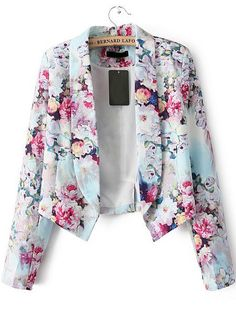 Red Long Sleeve Floral Crop Fitted Blazer - Sheinside.com