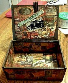 Other: Guys Altered Cigar box (Inside) Cigar Box Diy, Vintage Cigar Box, Cigar Box Crafts, Cigar Box Purse, Diy Box, Altered Cigar Boxes Ideas, Wooden Cigar Boxes, Cigar Box Projects, Mixed Media Boxes