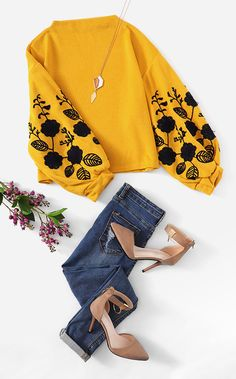 - SHEIN Ginger Preppy Elegant Floral Embroidered Cowl Neck Bishop Sleeve Sweatshirt Source by shein_group_aliexpress - Indian Fashion Dresses, Girls Fashion Clothes, Teen Fashion Outfits, Look Fashion, Trendy Fashion, Korean Fashion, Girl Fashion, Girl Outfits, Cute Casual Outfits