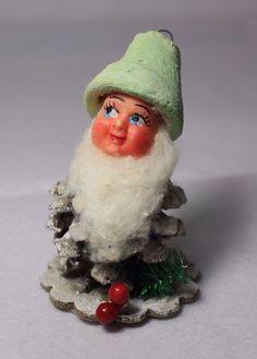 Vintage Christmas Pinecone Elf Gnome Santa Dwarf Italy Mica Glitter Cotton