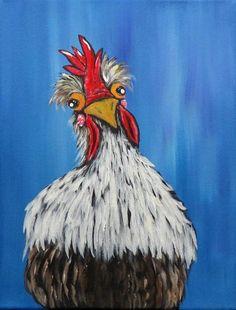 Handpainted Chicken Art Original Acrylic Painting on Canvas Whimsical Kitchen Home Decor Primitive Farm Animal Barnyard Wall Art Gift Idea