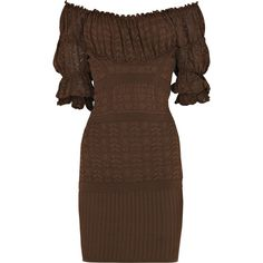 Pointelle-knit peasant dress (€280) ❤ liked on Polyvore featuring dresses, vestidos, brown, brown dress, women, off the shoulder peasant dress, ruched empire waist dress, fitted dresses, off shoulder dress and tight dresses