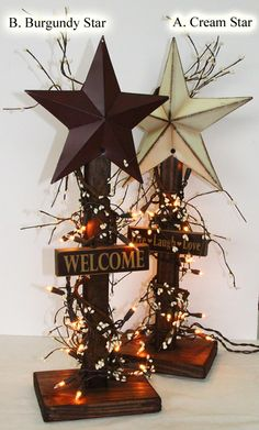 Love This Idea. Barn Star Welcome Lighted Porch Decoration.Too stinking cute, Im so making this! - DIY Home DecorWooden Patriotic Americana Barn Star Twinkle by AlaratessAlexbrescute @ DIY Home design decorating before and after room designtürk - Diy Cra Country Crafts, Country Decor, Rustic Decor, Farmhouse Decor, Country Fall, Rustic Barn, Rustic Americana Decor, Americana Crafts, Wooden Barn