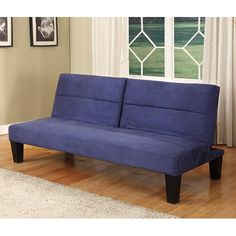 InRoom Designs Klik-Klak Convertible Sofa - Blue - Space-saving style like you'll find in the InRoom Designs Klik-Klak Convertible Sofa - Blue comes along once in a blue moon. Featuring a split back an...