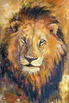 lion portrait in impasto style using acrylic paint