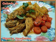 Guisado de pollo con papas y Zanahorias, receta fácil
